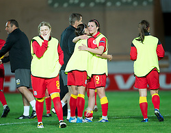 LLANELLI, WALES - Saturday, September 15, 2012: Wales' Helen Lander looks dejected after losing 2-1 to Scotland during the UEFA Women's Euro 2013 Qualifying Group 4 match at Parc y Scarlets. (Pic by David Rawcliffe/Propaganda)