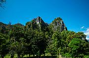 Exterior view of the famous Tham Jang Caves near Vang Vieng, Laos.