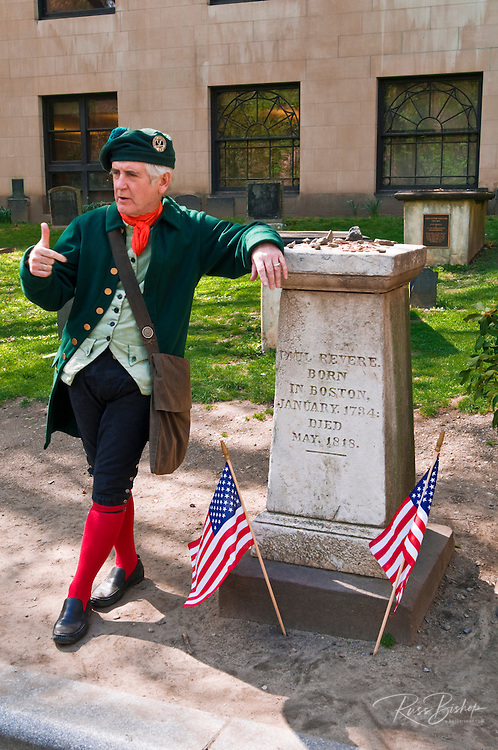 Docent in period costume at Paul Revere's grave in the Granary Burial Ground, Freedom Trail, Boston, Massachusetts