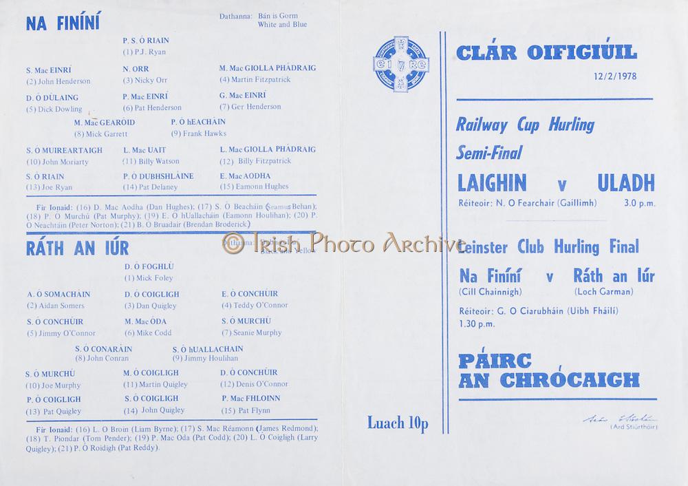 1978 Railway Cup Hurling Semi-Final.Leinster v Ulster.Croke Park, Dublin.12th February 1978.12.02.1978