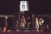 14/02/2013. London, UK. Eugène Ionesco's Rhinocéros is one of the major Absurdist plays of the 20th century. As compelling as ever, it warns against totalitarianism and the destructive power of the collective. Théâtre de la Ville's production has wowed critics and audiences across France and the USA with its spectacular set and gripping performances. Picture shows: the ensemble cast.