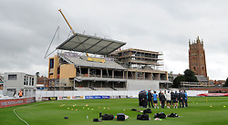 General view as the New Zealand Team hold a pre warm up huddle. Photo mandatory by-line: Harry Trump/JMP - Mobile: 07966 386802 - 11/05/15 - SPORT - CRICKET - Somerset v New Zealand - Day 4 - The County Ground, Taunton, England.