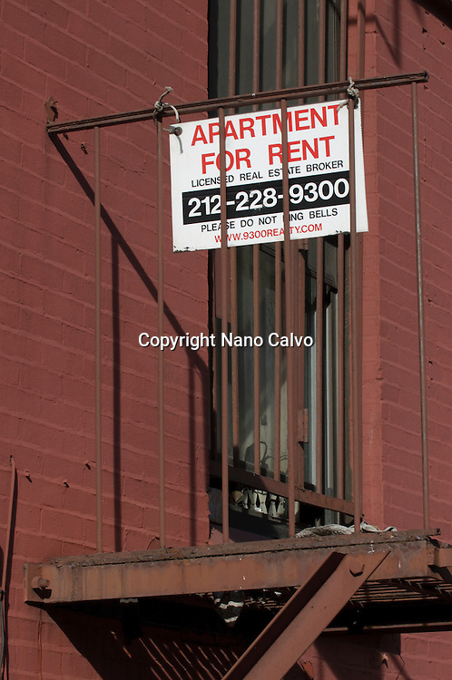 Apartment For Rent sign in Lower Manhattan, New York City, New York State, USA