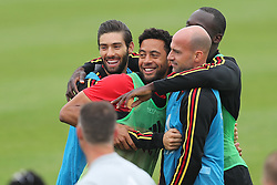 June 5, 2018 - Tubize, BELGIUM - Belgium's Yannick Carrasco, Belgium's Mousa Dembele and Belgium's Laurent Ciman pictured during a training session of the Belgian national soccer team Red Devils, Tuesday 05 June 2018, in Tubize. The Red Devils started their preparations for the upcoming FIFA World Cup 2018 in Russia. BELGA PHOTO BRUNO FAHY (Credit Image: © Bruno Fahy/Belga via ZUMA Press)