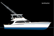 Vector rendering of a sportfishing boat with flybridge and outriggers.