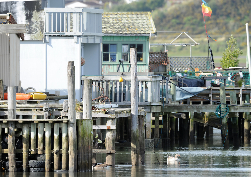 Boatsheds, jetties, Porirua Harbour, Wellington, New Zealand, Thursday, July 18, 2013. Credit:SNPA / Ross Setford