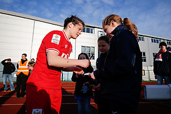 Hayley Ladd signs autographs after Bristol City Women win the match 7-1 - Mandatory byline: Rogan Thomson/JMP - 14/02/2016 - FOOTBALL - Stoke Gifford Stadium - Bristol, England - Bristol City Women v Queens Park Rangers Ladies - SSE Women's FA Cup Third Round Proper.