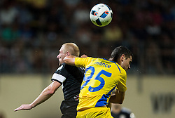 21.07.2016, Sports Park, Domzale, SLO, UEFA EL, NK Domzale vs Shakhtar Donetsk, Qualifikation, 2. Runde, Rueckspiel, im Bild Igor Burko of FC Shakhtyor Soligorsk vs Antonio Mance of NK Domzale // during the UEFA Europaleague Qualifier 2nd round, 2nd leg match between Grasshopper Club and KR Reykjavik at the Sports Park in Domzale, Slovenia on 2016/07/21. EXPA Pictures © 2016, PhotoCredit: EXPA/ Sportida/ Vid Ponikvar<br /> <br /> *****ATTENTION - OUT of SLO, FRA*****