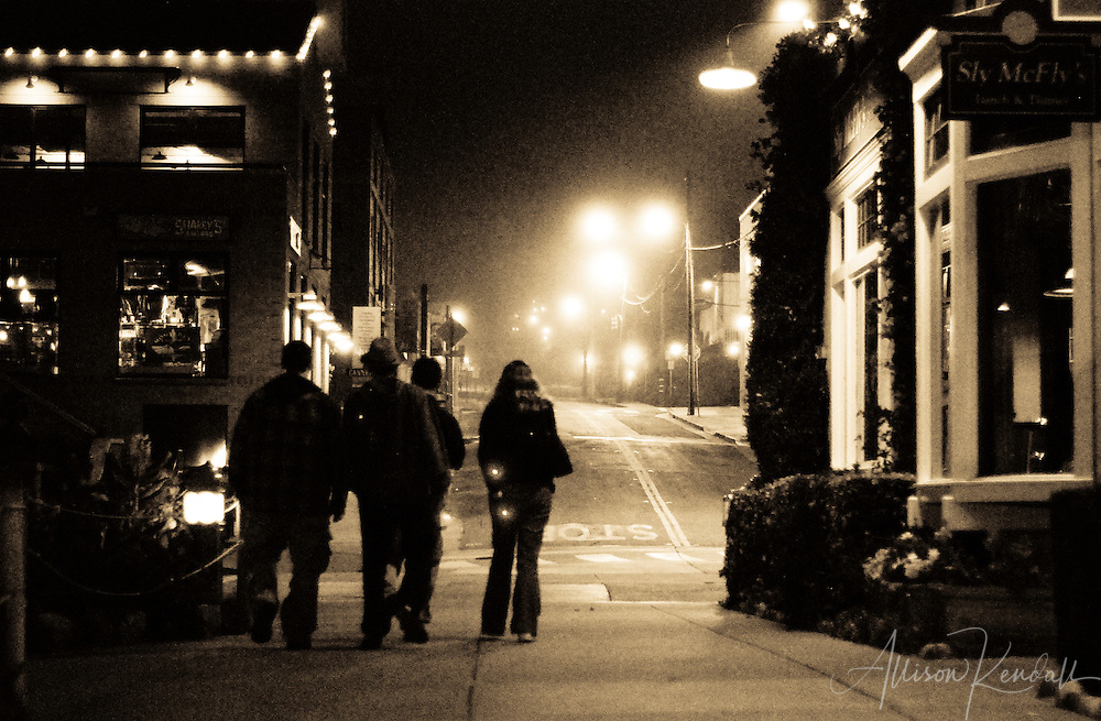 A misty night on Cannery Row, Monterey