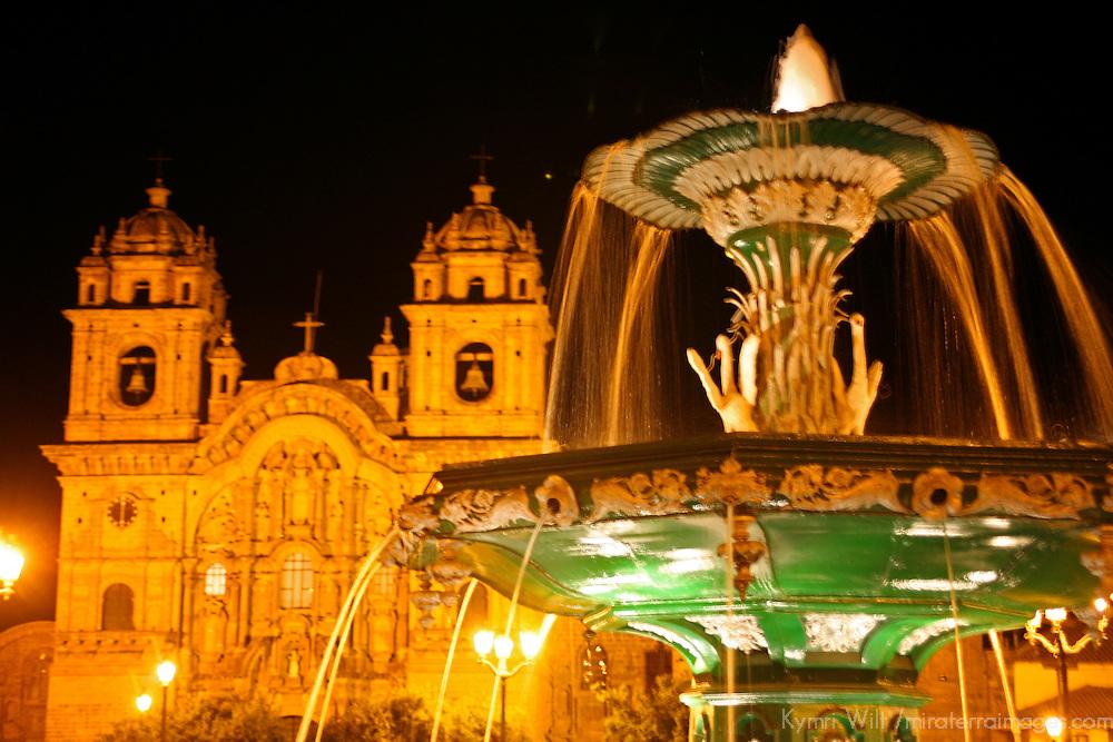 South America, Peru, Cusco. The Plaza de Armas, the central square of colonial Cusco, a UNESCO World Heritage Site.