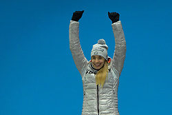 February 18, 2018 - Pyeongchang, South Korea - JACQUELINE LOELLING of Germany celebrates getting the silver medal in the Women's Skeleton event in the PyeongChang Olympic Games. (Credit Image: © Christopher Levy via ZUMA Wire)
