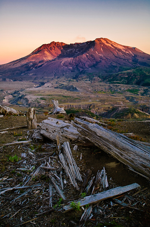 Mount Saint Helens at sunset from Loowit Trail and Viewpoint on Johnston Ridge; Mount St. Helens National Volcanic Monument, Washington.