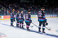 KELOWNA, CANADA - NOVEMBER 3: Braydyn Chizen #22, Kaedan Korczak #6, Erik Gardiner #11, Kyle Topping #24 and Leif Mattson #28 of the Kelowna Rockets line up against the Brandon Wheat Kings on November 3, 2018 at Prospera Place in Kelowna, British Columbia, Canada.  (Photo by Marissa Baecker/Shoot the Breeze)