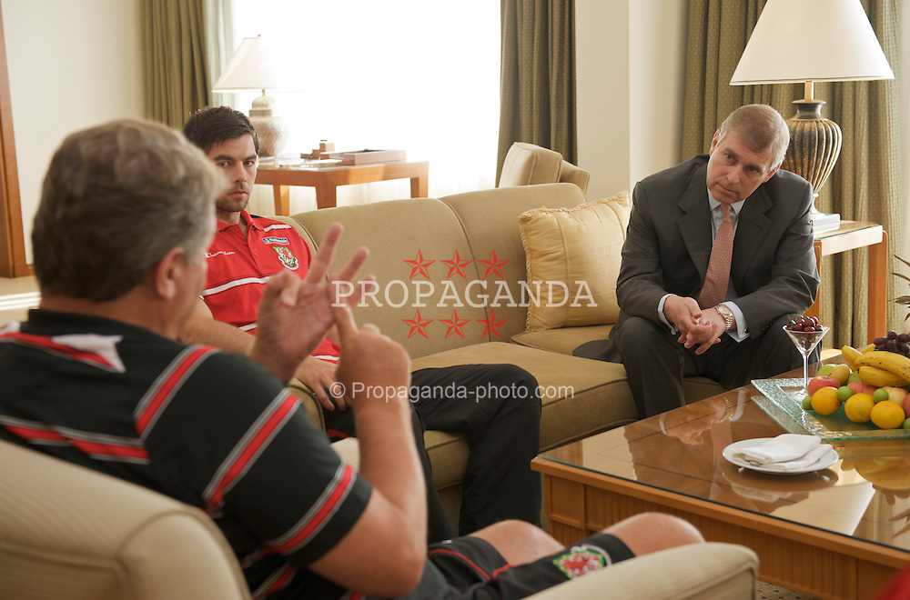 BAKU, AZERBAIJAN - Thursday, June 4, 2009: HRH Prince Andrew meets Wales' manager John Toshack MBE and captain Joe Ledley ahead of the 2010 FIFA World Cup Qualifying Group 4 match. (Pic by David Rawcliffe/Propaganda)