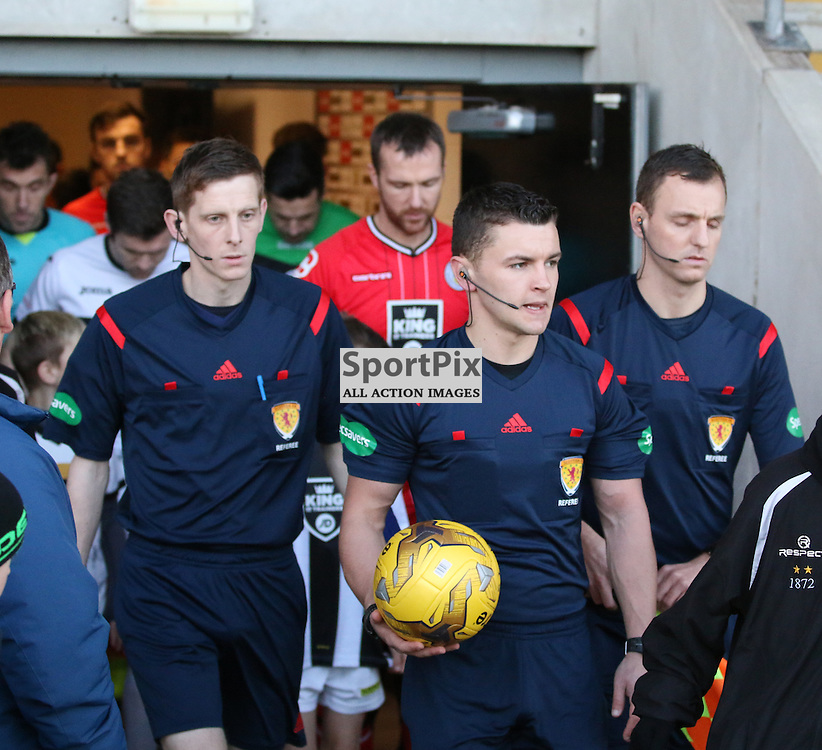 Ref Nick Walsh leads the teams out during the Dumbarton v St Mirren  Scottish Championship  12  December 2015 <br /> <br /> (c) Andy Scott | SportPix.org.uk
