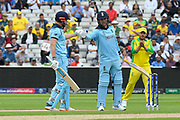 Jonny Bairstow of England and Jason Roy of England touch gloves during the ICC Cricket World Cup 2019 semi final match between Australia and England at Edgbaston, Birmingham, United Kingdom on 11 July 2019.