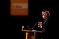 15 NOV 2010, KARLSRUHE/GERMANY:<br /> Angela Merkel, CDU, Bundeskanzlerin und CDU Bundesvorsitzende, waehrend ihrer Rede, CDU Bundesparteitag, Messe Karlsruhe<br /> IMAGE: 20101115-01-255<br /> KEYWORDS: party congress, speech, Parteitag