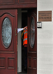 © Licensed to London News Pictures. 19/12/2011, London, UK. A delivery is taken at The North Korean embassy in West London. Kim Jong Il's death on Saturday, aged 69, was announced last night in a special broadcast by state TV from the North Korean capital. Photo credit: Stephen Simpson/LNP
