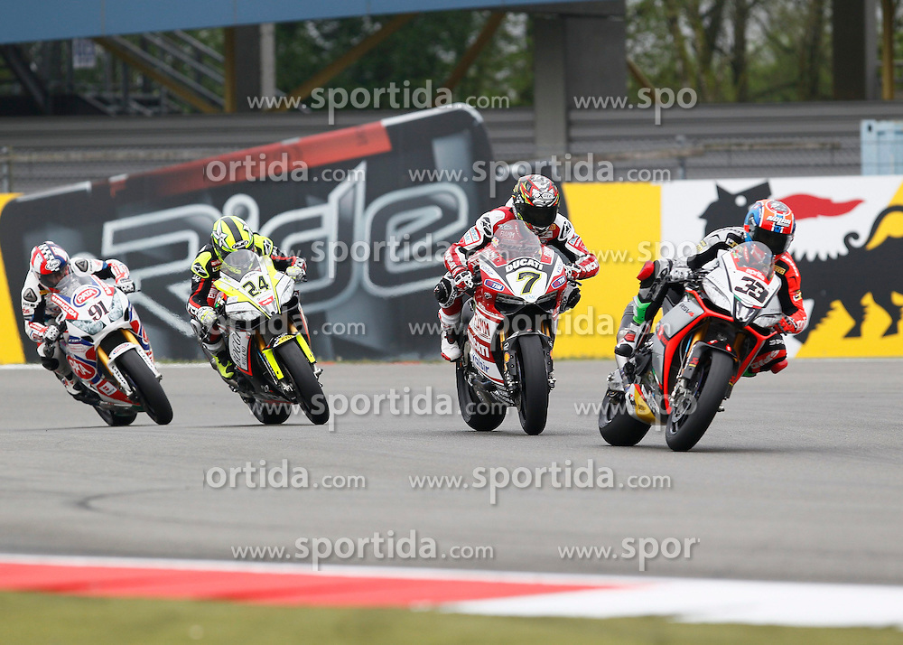 27.04.2014, TT Assen Circuit, Assen, NED, FIM, Superbike World Championship, Assen, Warm Up, Rennen, im Bild 33 Marco Melandri vor 7 Chaz Davies, 24 Toni Elias und 91 Leon Haslam // during the Warm up and Race of Round 3 - Assen FIM Superbike World Championship at the TT Assen Circuit in Assen, Netherlands on 2014/04/27. EXPA Pictures &copy; 2014, PhotoCredit: EXPA/ Eibner-Pressefoto/ Stiefel<br /> <br /> *****ATTENTION - OUT of GER*****