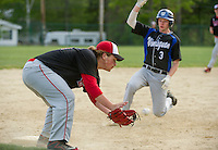 Winnisquam's Cam Chatford advancing to third ahead of the throw to Belmont's Cole Contigiani during Wednesday afternoon baseball.  (Karen Bobotas/for the Laconia Daily Sun)