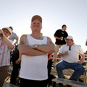 LAS VEGAS, NEVADA, November 12, 2007: Contestants from around the world gathered in Las Vegas, Nevada on November 12, 2007 to race their pigeons in the Las Vegas Classic. Participants wait for hours for the birds to appear in the sky at the finish line.