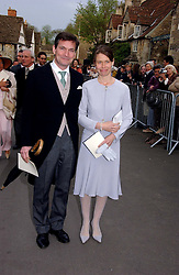 LADY SARAH CHATTO daughter of the late Princess Margaret and her husband MR DANIEL CHATTOat the wedding of Laura Parker Bowles to Harry Lopes held at Lacock, Wiltshire on 6th May 2006.<br />