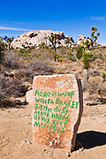 Tombstone on the trail to the Wall Street Stamp Mill, Joshua Tree National Park, California