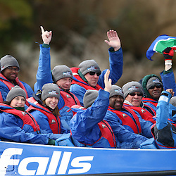 TAUPO, NEW ZEALAND - SEPTEMBER 20,Springbok players and management during the Springboks Jet Boat Trip at Hukafalls on September 20, 2011 in Taupo, New Zealand<br /> Photo by Steve Haag / Gallo Images