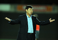 La Roche sur Yon FC Nantes v Korea  DPR (0-0) 09/10/2009<br /> Kim Yong Hun  (Manager)  DPR Korea<br /> North Korea make a rare appearance in the West having already qualified for World Cup 2010. Their last appearance in a major competiition was World Cup 1966 when they famously knocked Italy out of the tournament.<br /> Photo Roger Parker Fotosports International