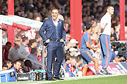Sheffield Wednesday Manager Carlos Carvalhal appeals and shouts at the linesman during the Sky Bet Championship match between Brentford and Sheffield Wednesday at Griffin Park, London, England on 26 September 2015. Photo by Phil Duncan.