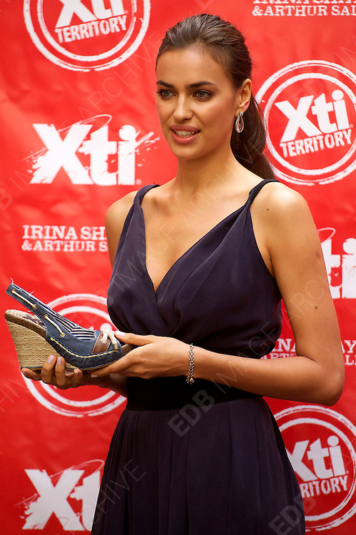 18.MAY.2012. MADRID<br /> <br /> MODELS IRINA SHAYK AND ARTHUR SALES LAUNCH THE NEW 'XTI' SHOES NEW AUTUM-WINTER 2012-2013 COLLECTION AT THE HOSPES HOTEL IN MADRID, SPAIN 18.05.2012<br /> <br /> BYLINE: EDBIMAGEARCHIVE.COM<br /> <br /> *THIS IMAGE IS STRICTLY FOR UK NEWSPAPERS AND MAGAZINES ONLY*<br /> *FOR WORLD WIDE SALES AND WEB USE PLEASE CONTACT EDBIMAGEARCHIVE - 0208 954 5968*
