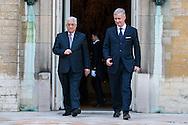 Roi Philippe et Mammouhd Abbas lors de son audience au Palais royal durant sa visite en Belgique. Belgique, Bruxelles, le 12 février 2014