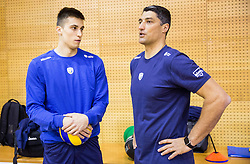 Klemen Cebulj and coach Andrea Giani during training camp of Slovenian Volleyball Men Team 1 month before FIVB Volleyball World League tournament in Ljubljana, on May 5, 2016 in Arena Vitranc, Kranjska Gora, Slovenia. Photo by Vid Ponikvar / Sportida