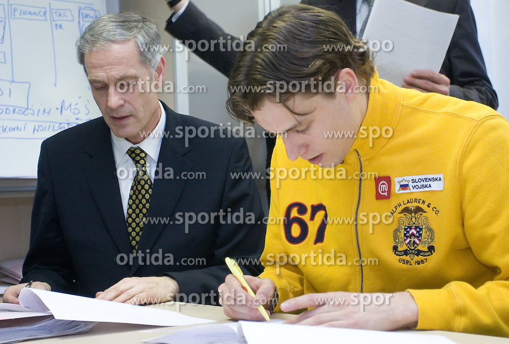 Dusan Prezelj and Rozle Prezelj when Slovenian athletes and their coaches sign contracts with Athletic federation of Slovenia for year 2009,  in AZS, Ljubljana, Slovenia, on March 2, 2009. (Photo by Vid Ponikvar / Sportida)