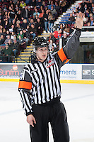 KELOWNA, CANADA - JANUARY 26: Kevin Bennett, referee, stands on the ice as the Prince Albert Raiders visit the Kelowna Rockets on January 26, 2013 at Prospera Place in Kelowna, British Columbia, Canada (Photo by Marissa Baecker/Shoot the Breeze) *** Local Caption ***
