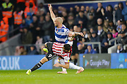 Brentford attacker Neal Maupay (9) battles with QPR defender Toni Leistner (37) during the EFL Sky Bet Championship match between Queens Park Rangers and Brentford at the Loftus Road Stadium, London, England on 10 November 2018.