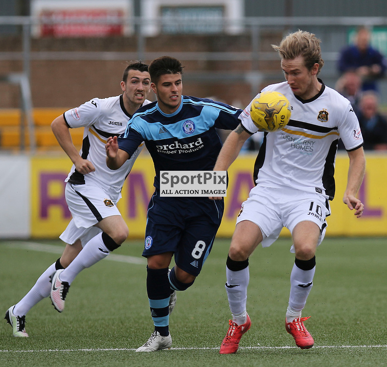 Lewis Milne does battles with Robert Thomson during the  Forfar v Dumbarton Scottish League Cup group stage 16 July 2016<br /> <br /> (c) Andy Scott | SportPix.org.uk
