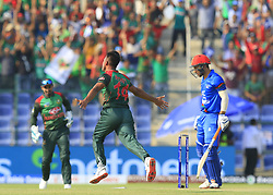 September 20, 2018 - Abu Dhabi, United Arab Emirates - Bangladesh cricketer Abu Hider celebrates after taking the wicket of Afghanistan's Rahat Shah during the 6th cricket match of Asia Cup 2018 between Bangladesh and Afghanistan at the Sheikh Zayed Stadium,Abu Dhabi, United Arab Emirates on September 20, 2018. (Credit Image: © Tharaka Basnayaka/NurPhoto/ZUMA Press)