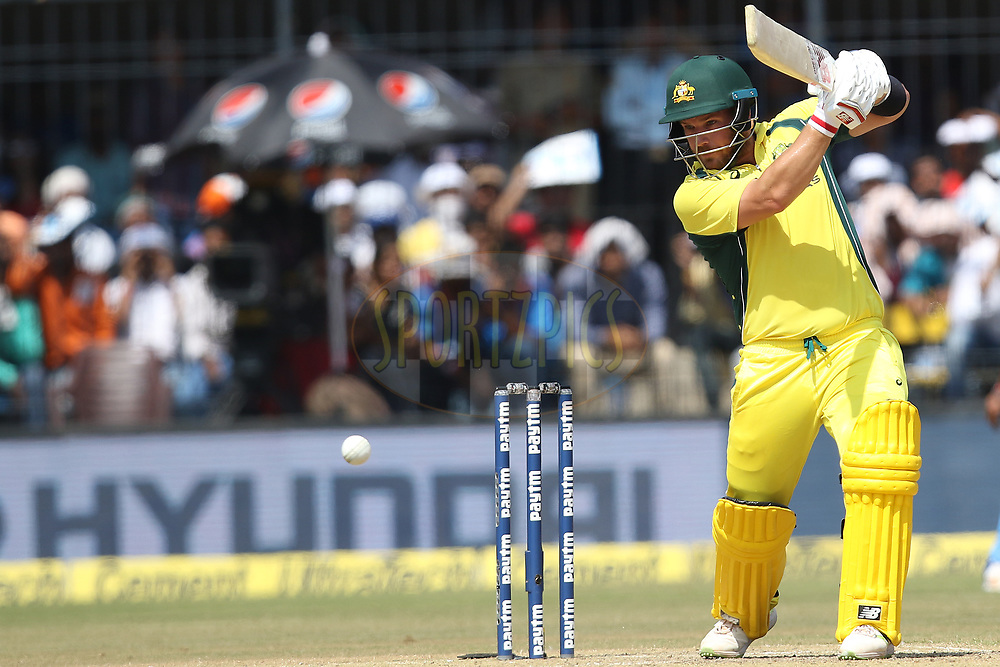Aaron Finch of Australia plays a shotduring the 3rd One Day International between India and Australia held at the Holkar Stadium in Indore on the 24th  September 2017<br /> <br /> Photo by Arjun Singh / BCCI / SPORTZPICS