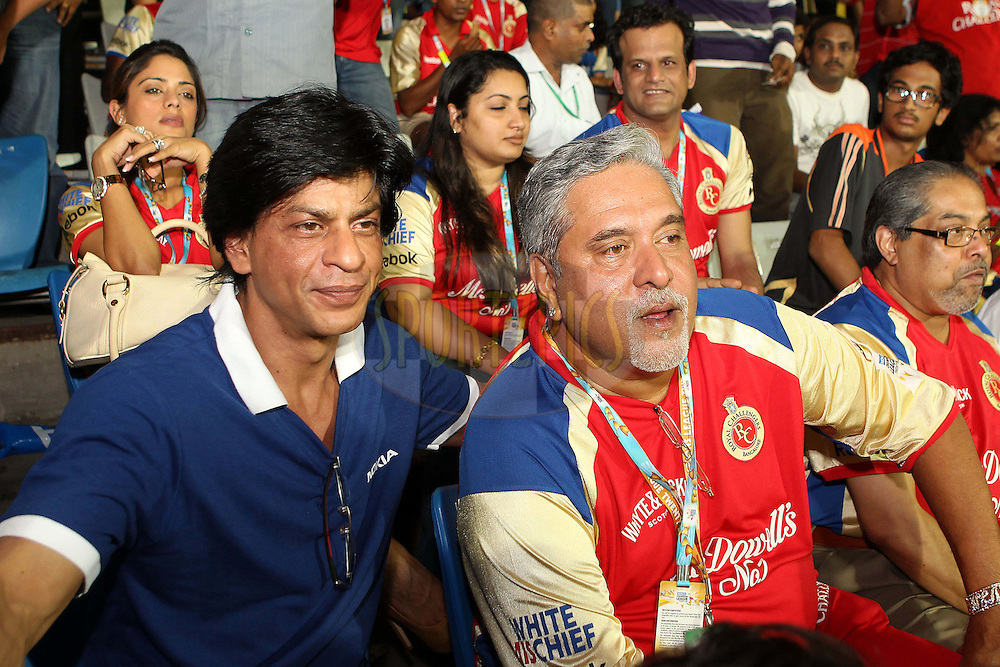 Shah Rukh Khan and Dr Vijay Mallya during the Final of the NOKIA Champions League T20 ( CLT20 ) between The Royal Challengers Bangalore and The Mumbai Indians held at the M. A. Chidambaram Stadium in Chennai , Tamil Nadu, India on the 9th October 2011..Photo by Ron Gaunt/BCCI/SPORTZPICS
