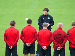 CARDIFF, WALES - Monday, October 14, 2013: Wales' manager Chris Coleman during a training session at the Vale of Glamorgan ahead of the 2014 FIFA World Cup Brazil Qualifying Group A match against Belgium. (Pic by David Rawcliffe/Propaganda)