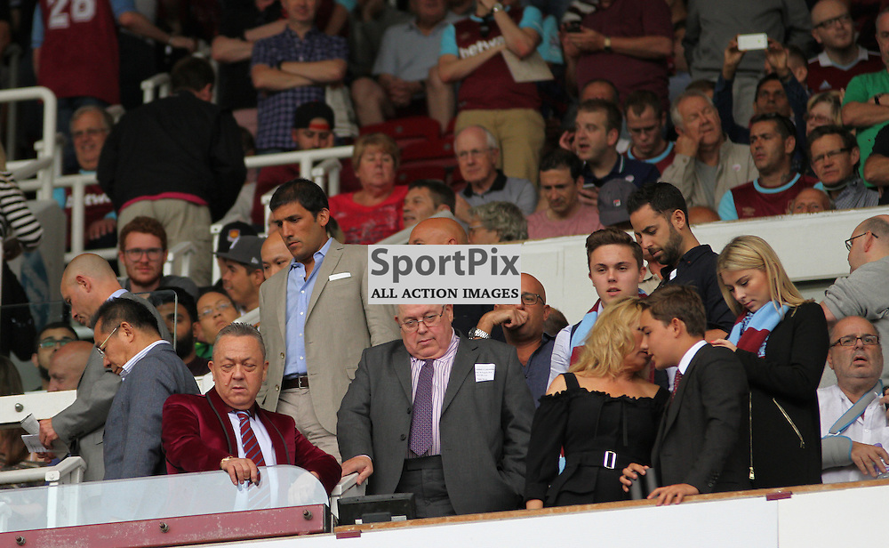 West Ham United Chairman David Sullivan and his family in the crowd During West Ham United vs Leicester City on Saturday the 16th August 2015.