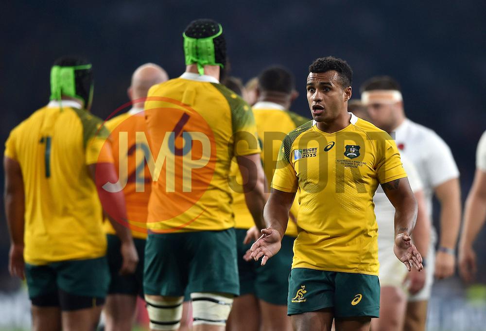Will Genia of Australia looks on - Mandatory byline: Patrick Khachfe/JMP - 07966 386802 - 03/10/2015 - RUGBY UNION - Twickenham Stadium - London, England - England v Australia - Rugby World Cup 2015 Pool A.