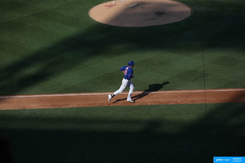 Lucas Duda, New York Mets, rounds the bases after hitting a solo home run off Arizona Diamondbacks starter Patrick Corbin in the fifth inning during the New York Mets Vs Arizona Diamondbacks MLB regular season baseball game at Citi Field, Queens, New York. USA. 11th July 2015. Photo Tim Clayton