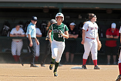 09 May 2014:  Allie Riordan runs to 2nd base during an NCAA Division III women's softball championship series game between the Lake Forest Foresters and the Illinois Wesleyan Titans in Bloomington IL