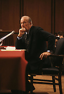 Secretary of State George Shultz testifies before a senate hearing in  1988..Photograph by Dennis Brack BB31