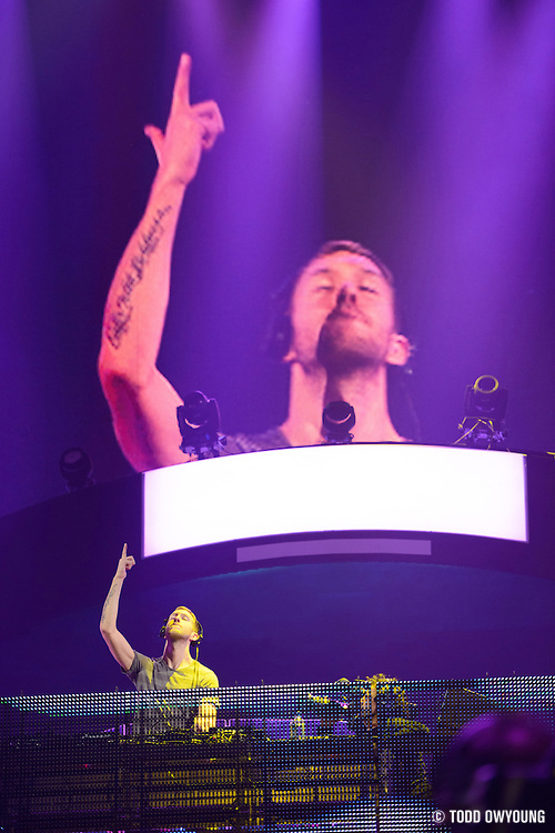 Electronc dance music producer Calvin Harris performing at the iHeartRadio Music Festival in Las Vegas, Nevada on September 22, 2012.