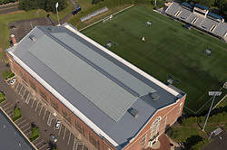 Coxe Cage indoor Track and Field Facility at Yale University, New Haven, CT. Auld Design for Petersen Aluminum. 24 July 2014. Photography by Helicopter.