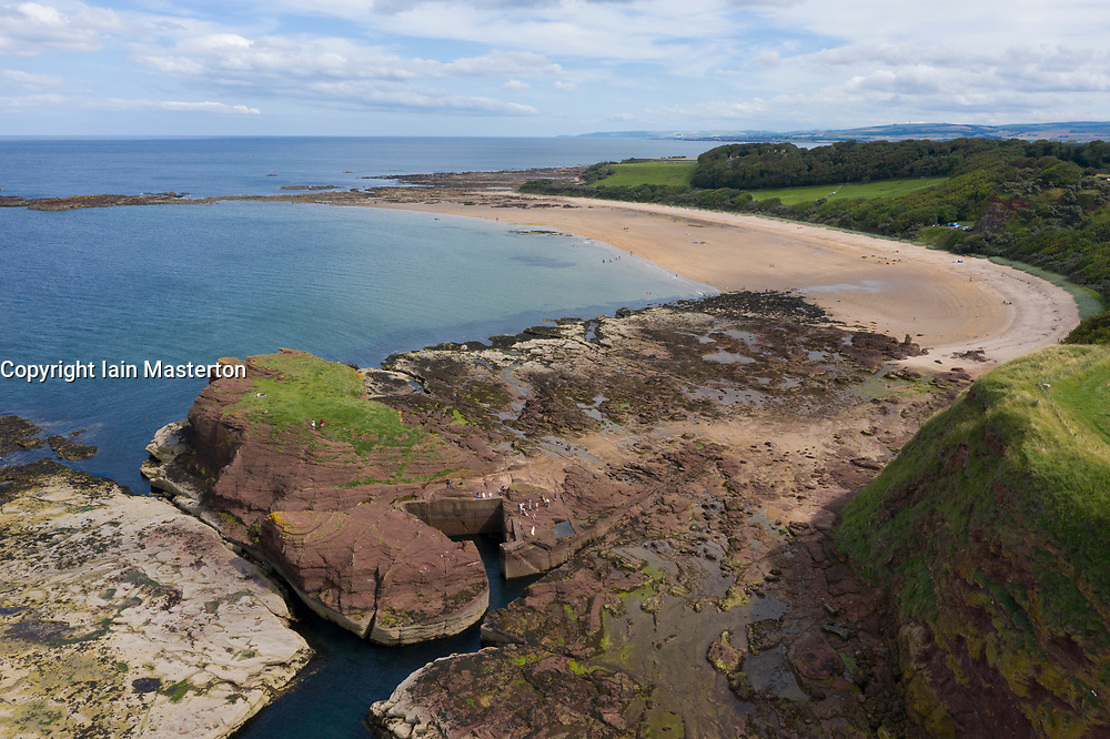 Aerial View of  Seacliff beach and harbour in East Lothian, Scotland, UK