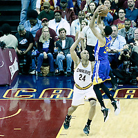 08 June 2016: Golden State Warriors guard Stephen Curry (30) takes a jump shot over Cleveland Cavaliers forward Richard Jefferson (24) during the Cleveland Cavaliers 120-90 victory over the Golden State Warriors, during Game Three of the 2016 NBA Finals at the Quicken Loans Arena, Cleveland, Ohio, USA.